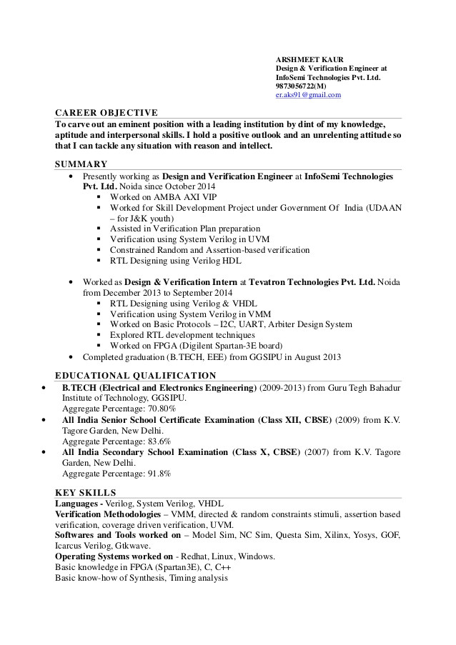 arshmeet kaur resumertl design and verification fpga