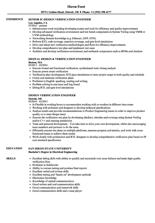 design verification engineer resume sample