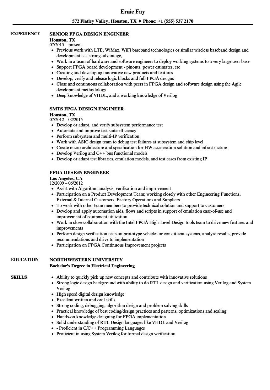fpga design engineer resume sample
