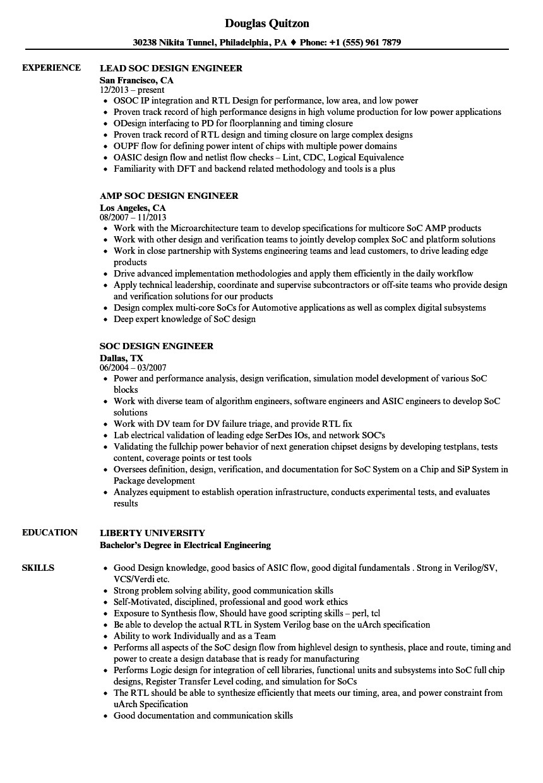 soc design engineer resume sample