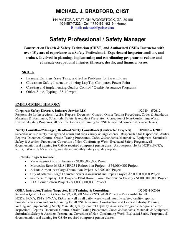 Safety Professional Resume Michael Bradford Chst Ahsm Safety Professional Resume