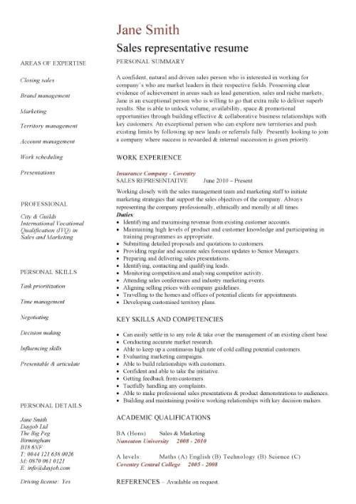 Sales Representative Resume Word format Sales Representative Resume Template