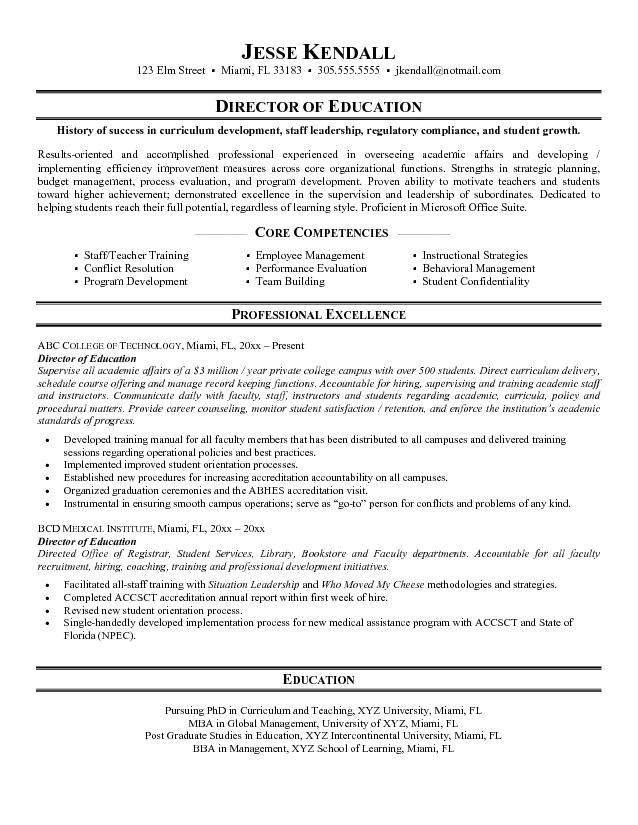 sample resume for education
