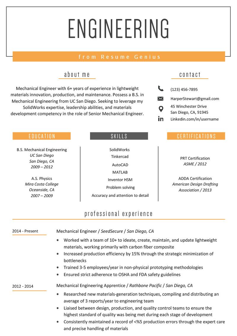 engineering resume example