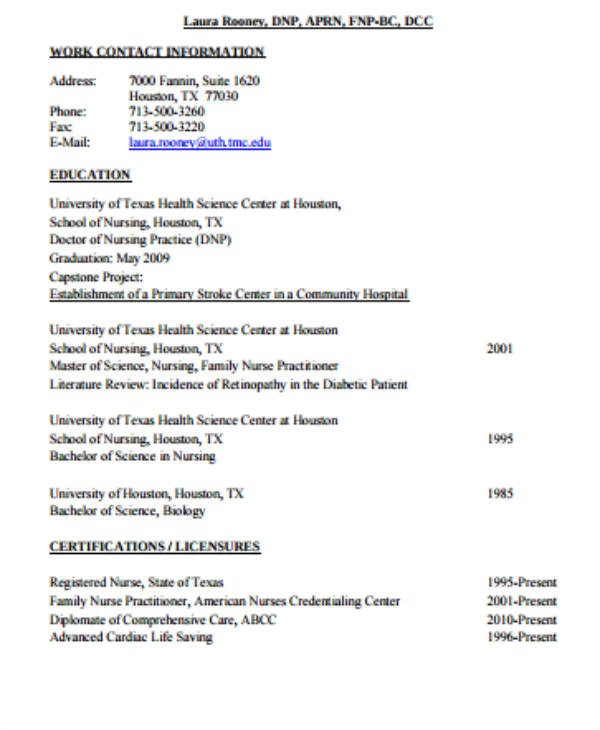 graduate nurse resume