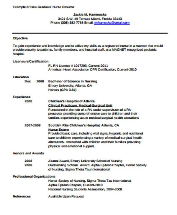 Sample Graduate Nurse Resume 4 Sample Graduate Nurse Resume Examples In Word Pdf