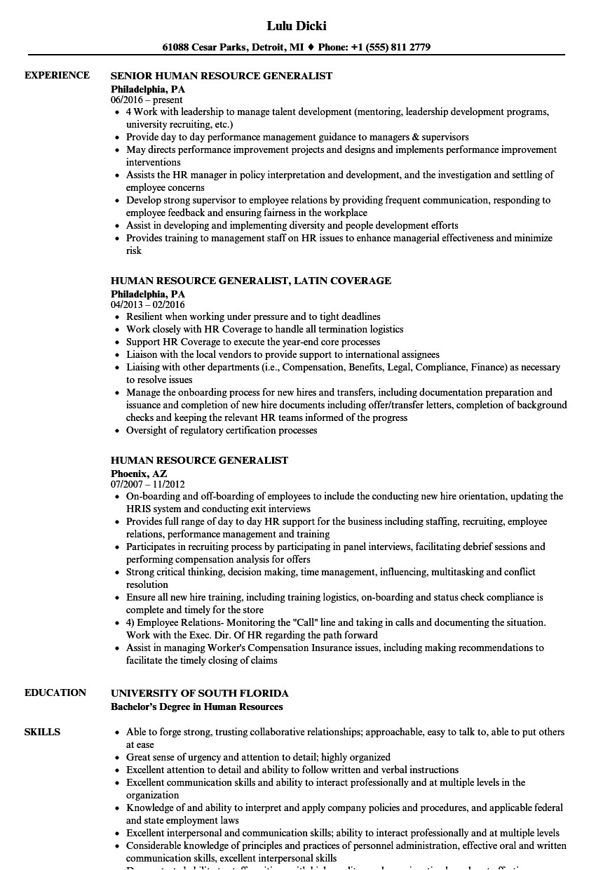 human resource generalist resume sample