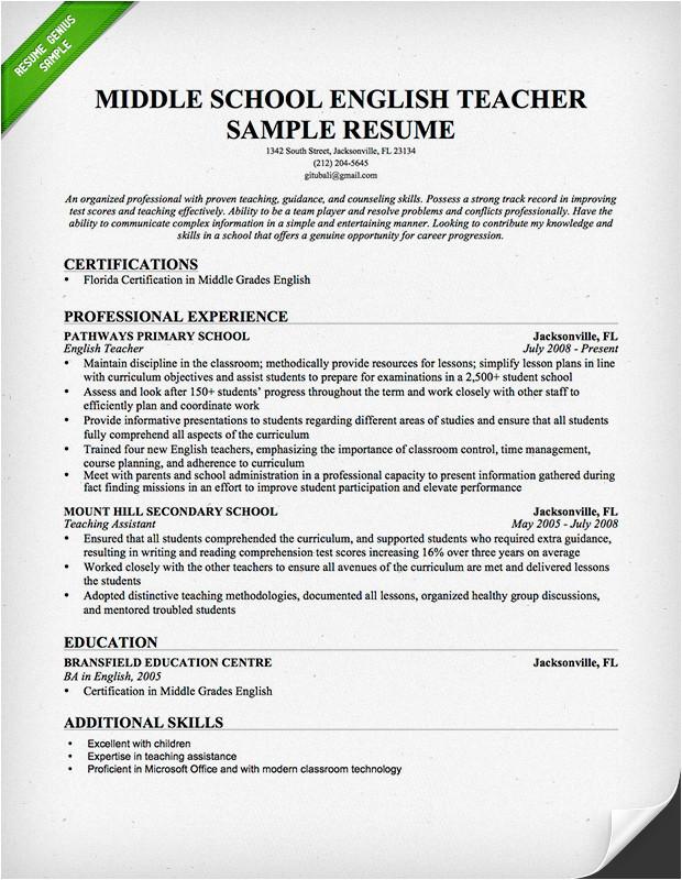 Sample Resume for English Teachers Teacher Resume Samples Writing Guide Resume Genius