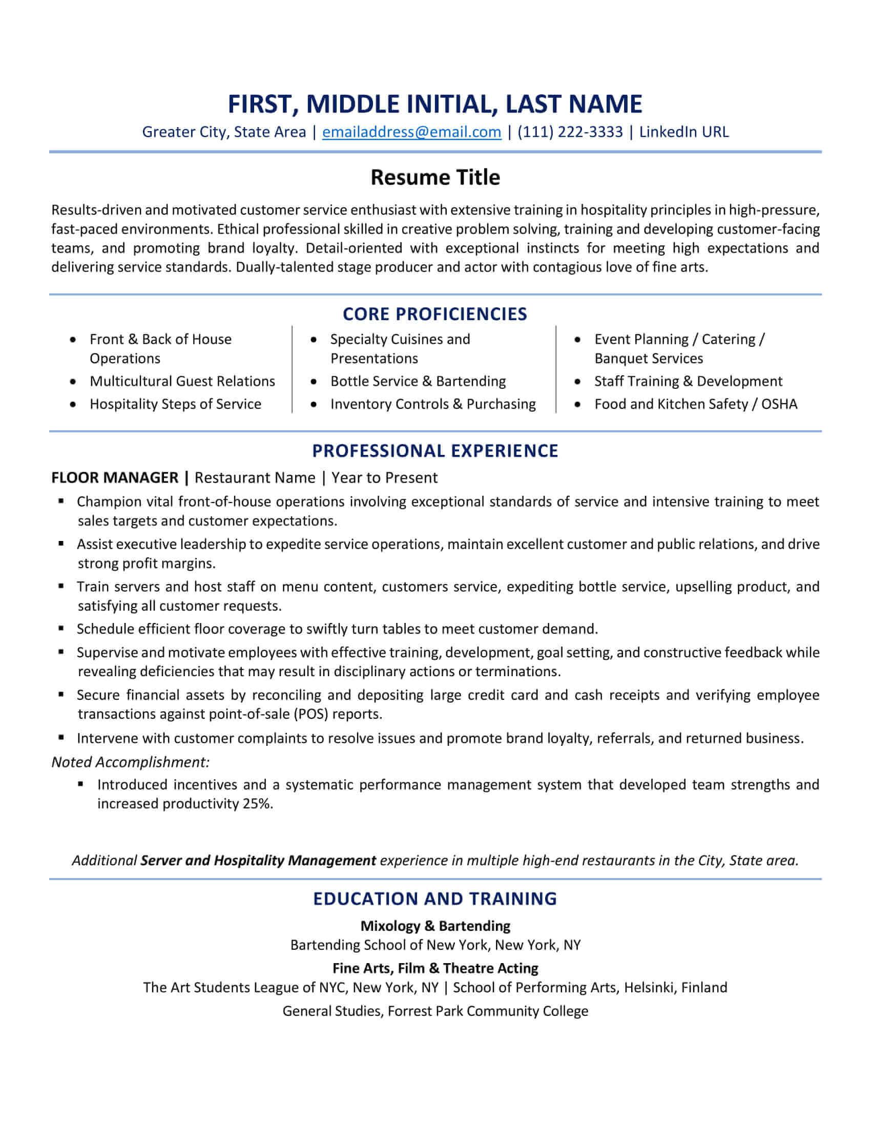 canada resume format