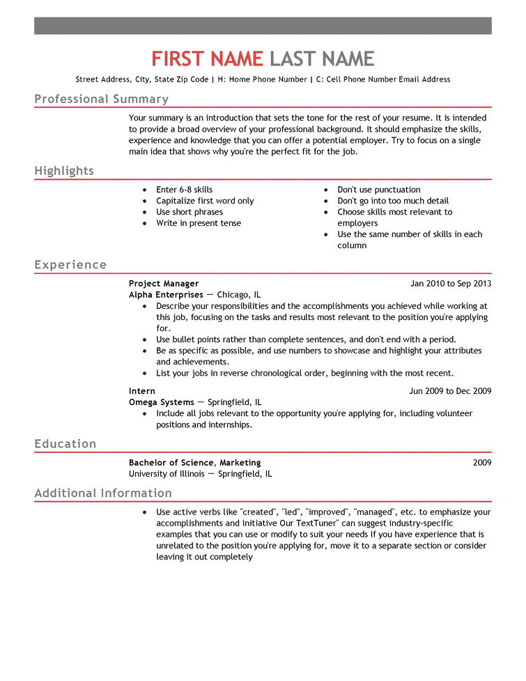 Sample Resume format for Job Application with Experience Choose From Over 20 Professionally Designed Free Resume