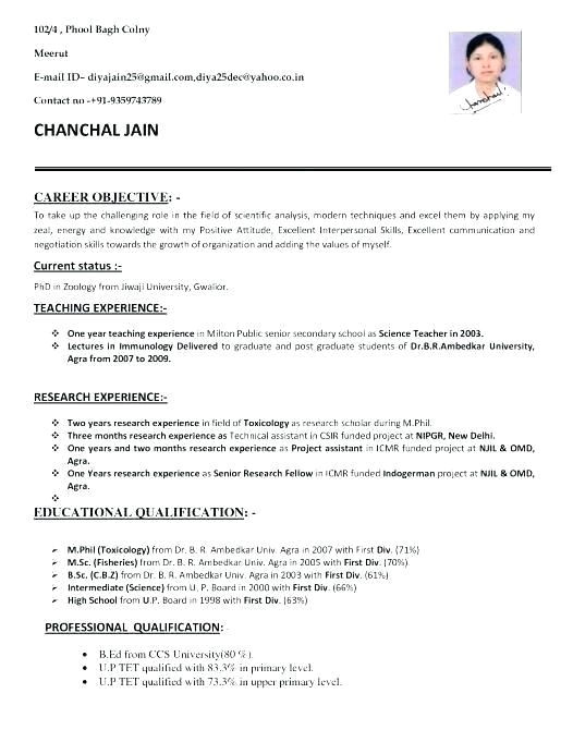 Sample Resume format for Zoology Freshers for Bsc Zoology 3 Resume format Job Resume Job Resume