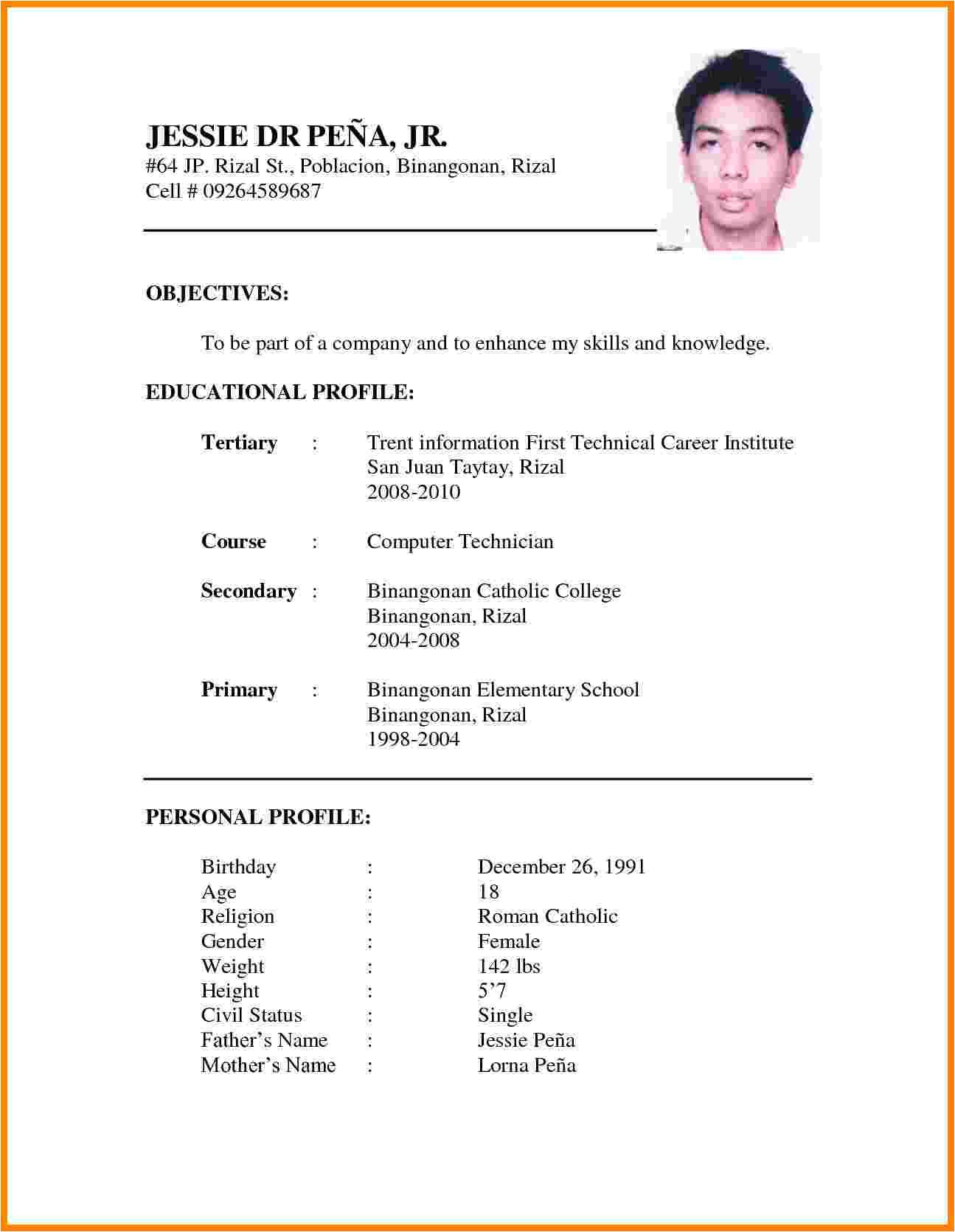 Sample Resume Letter for Job Application 11 Cv formats Samples for Job theorynpractice
