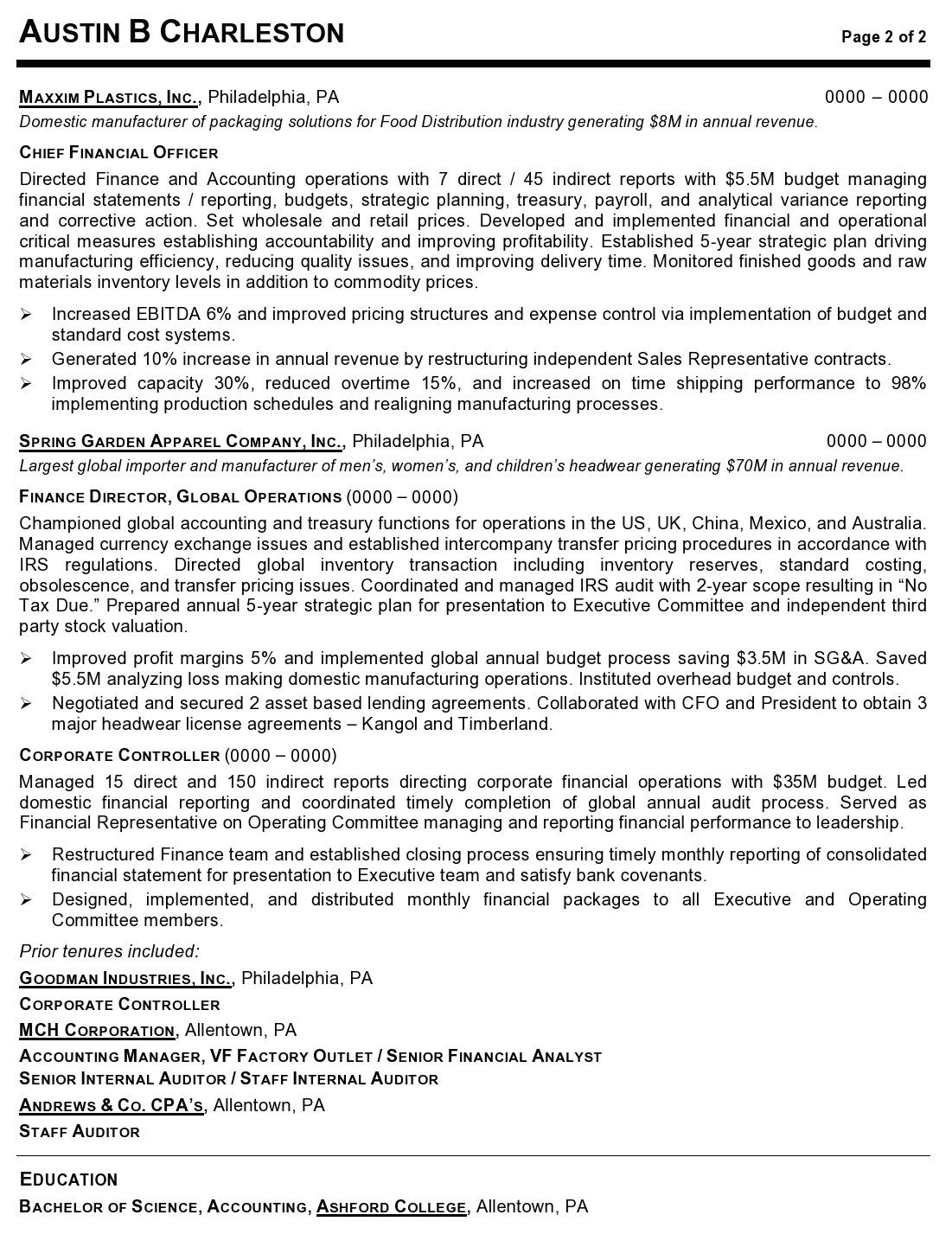 resume sample vice president operations