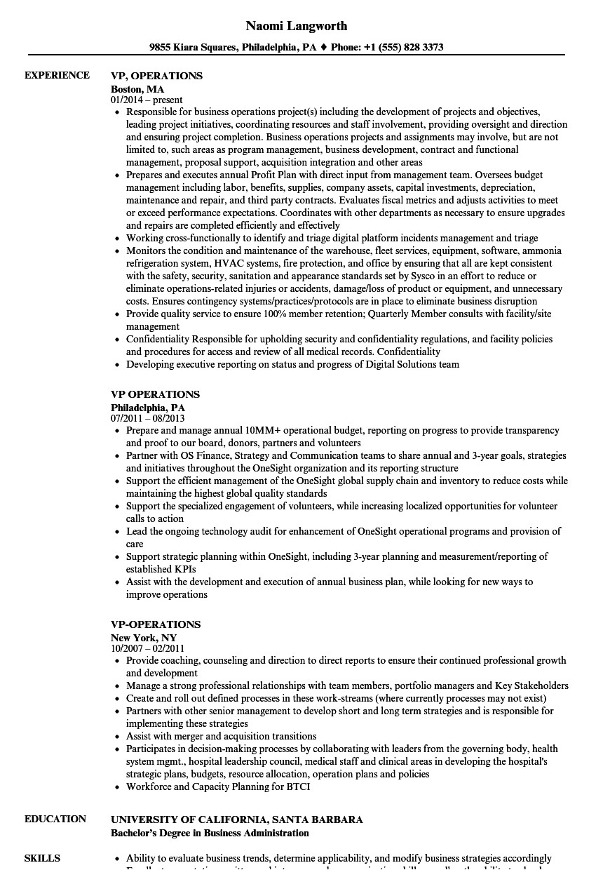 Sample Resume Vp Operations Vp Operations Resume Samples Velvet Jobs