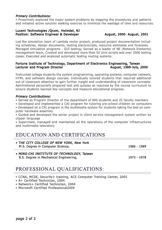 resume template young professional