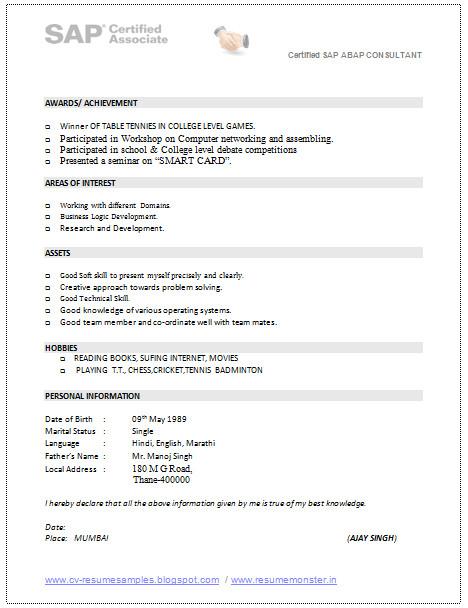 Sap Pm Fresher Resume format Sap Consultant Resume Sample 3 Perfect Resume Example