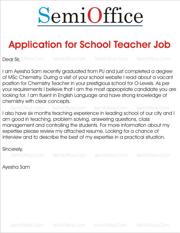application for school teacher job
