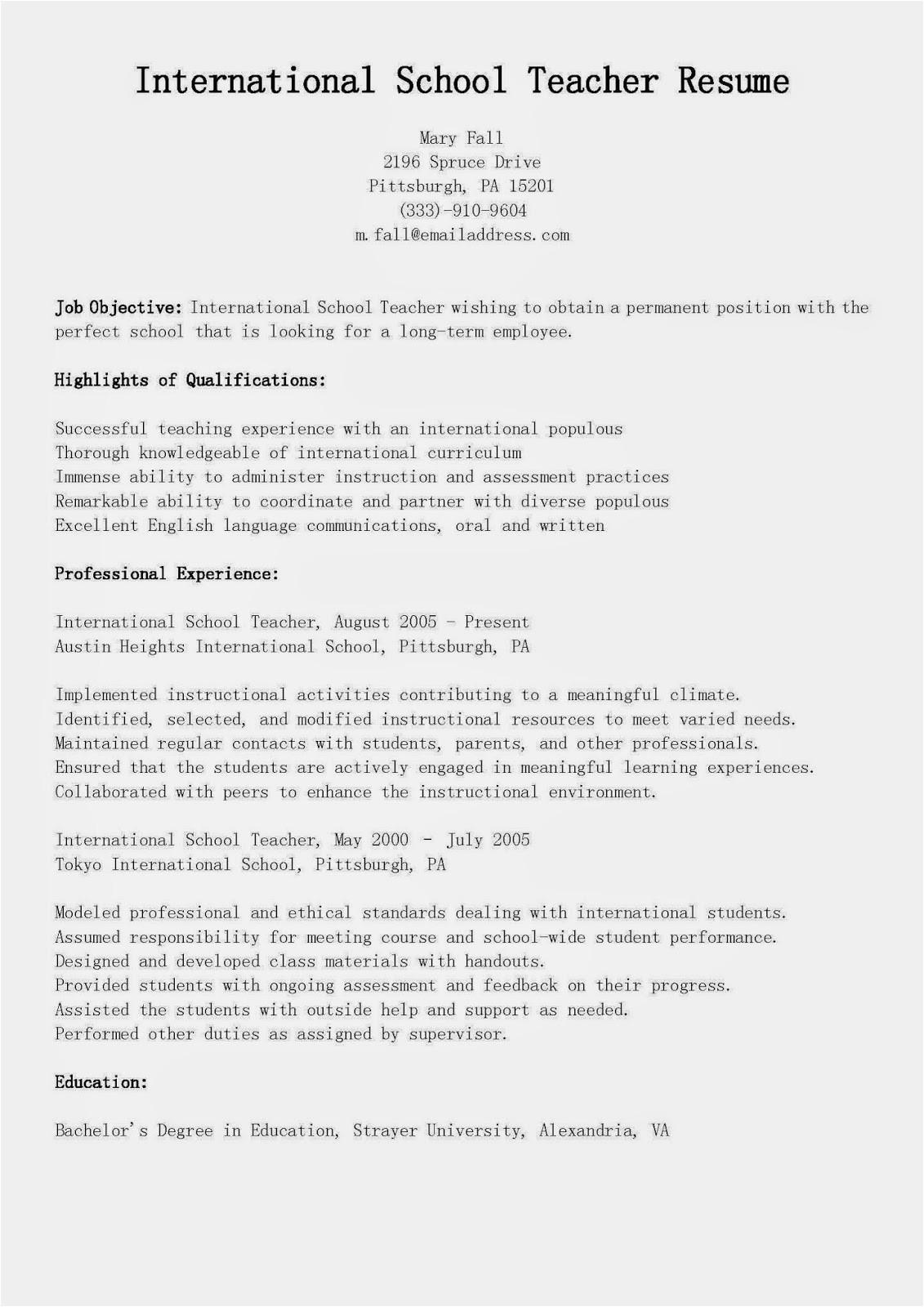 international school teacher resume