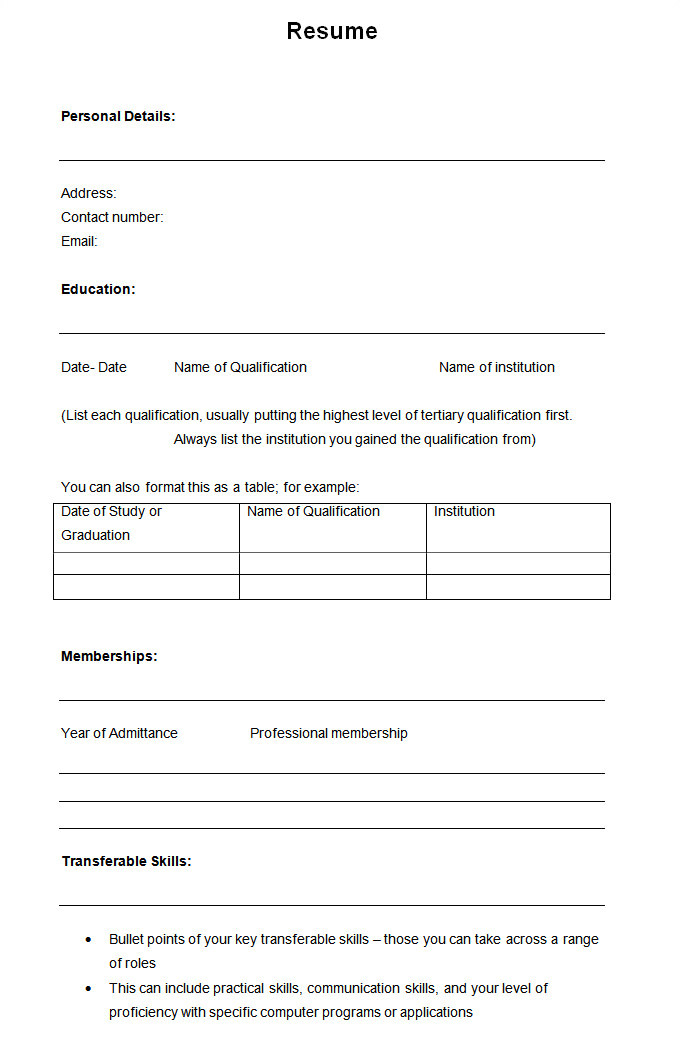 Simple Fill In the Blank Resume Templates 46 Blank Resume Templates Doc Pdf Free Premium