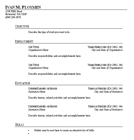 easy resume templates with fill in
