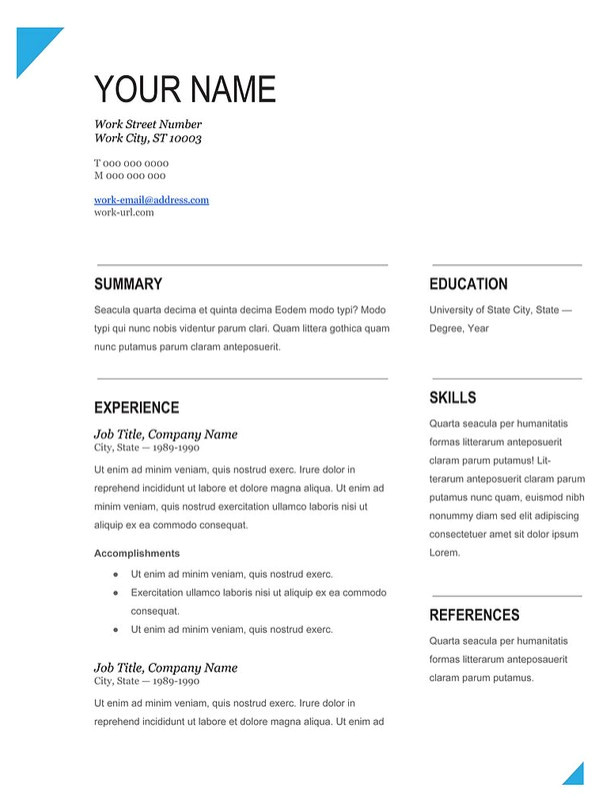 modern fill in blank resume template works