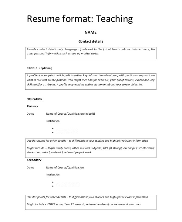 Simple format Of Resume for Teacher Simple Resume format 9 Examples In Word Pdf