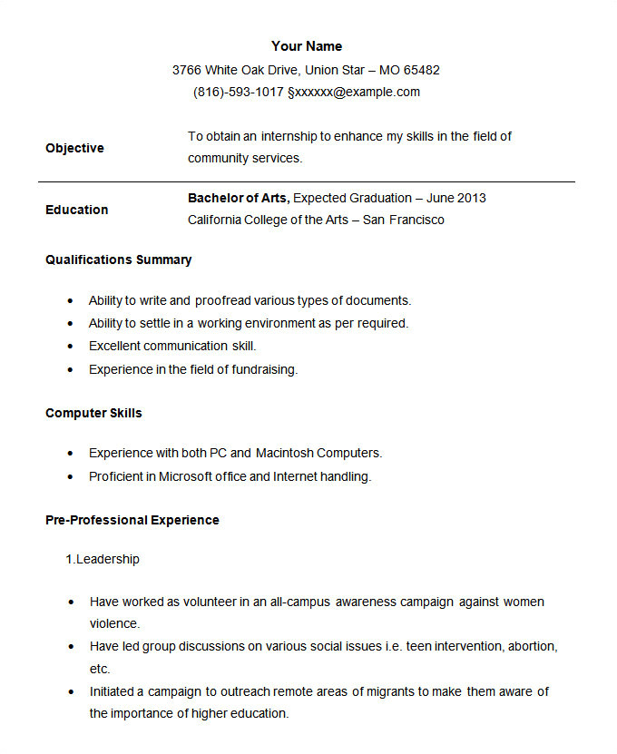 7 example of an cv for a student
