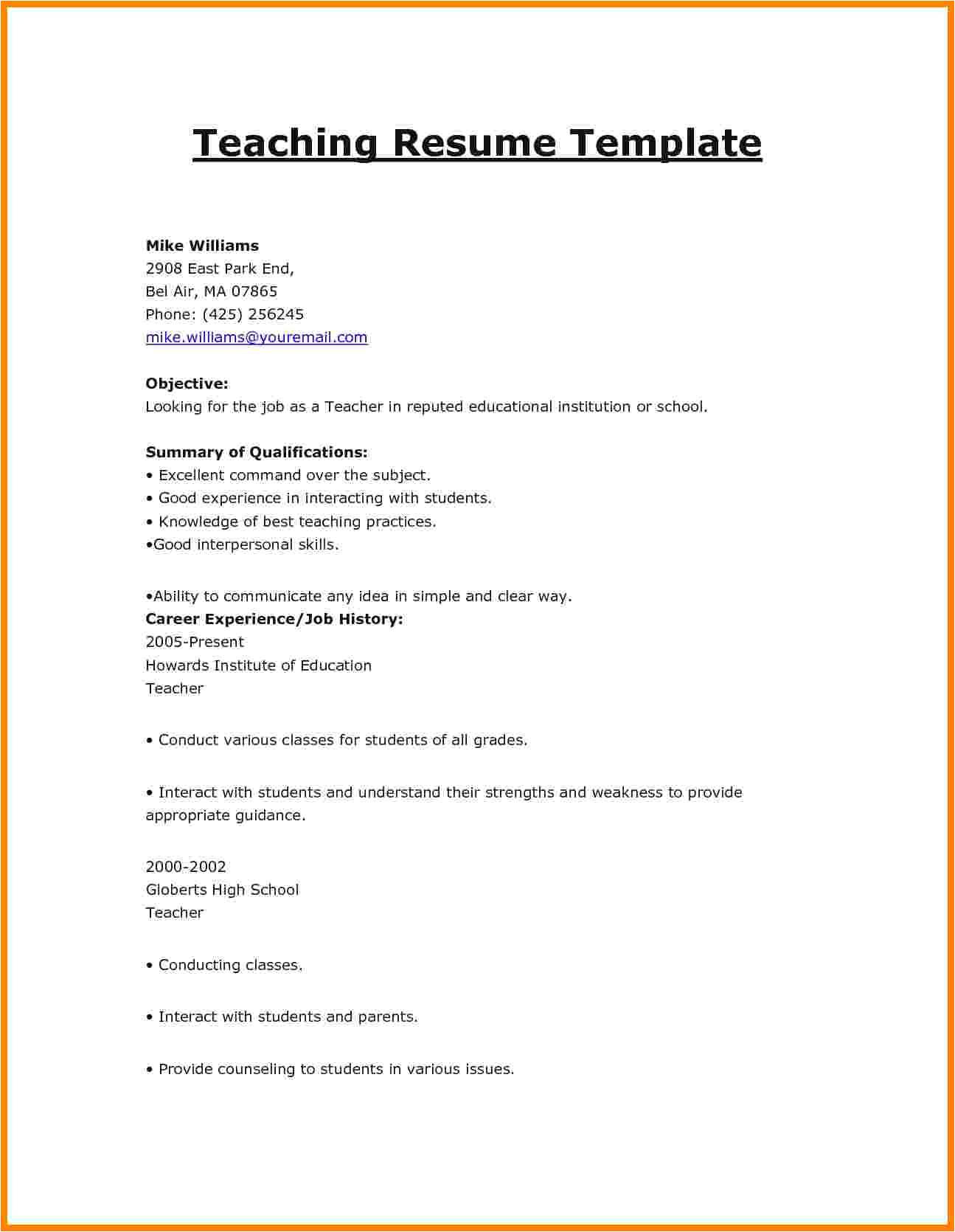 10 cv format teachers job