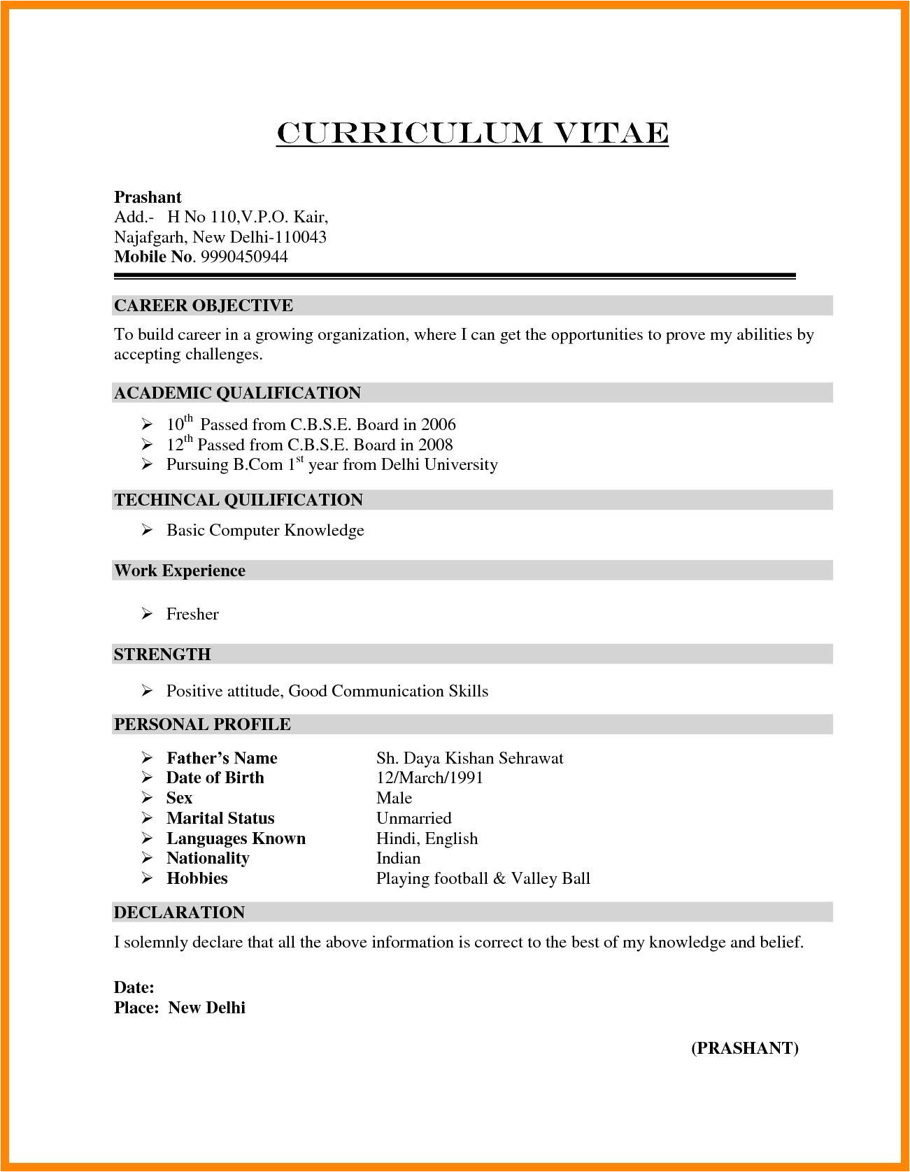 simple resume format for freshers doc