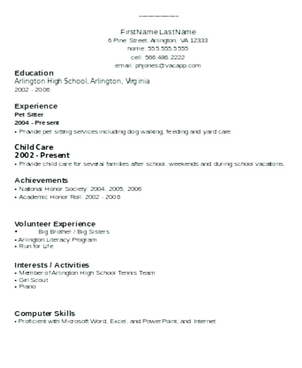 simple resume format for freshers