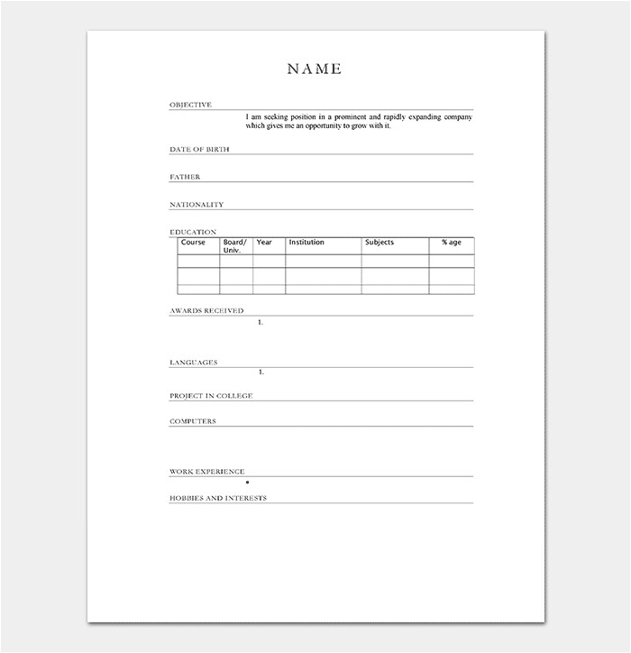Simple Resume format for Freshers In Ms Word Resume Template for Freshers 18 Samples In Word Pdf