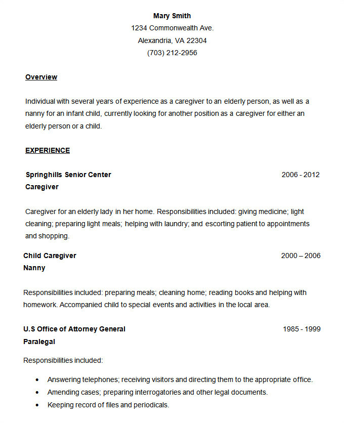 simple resume 3473