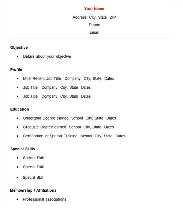 simple resume template 10397