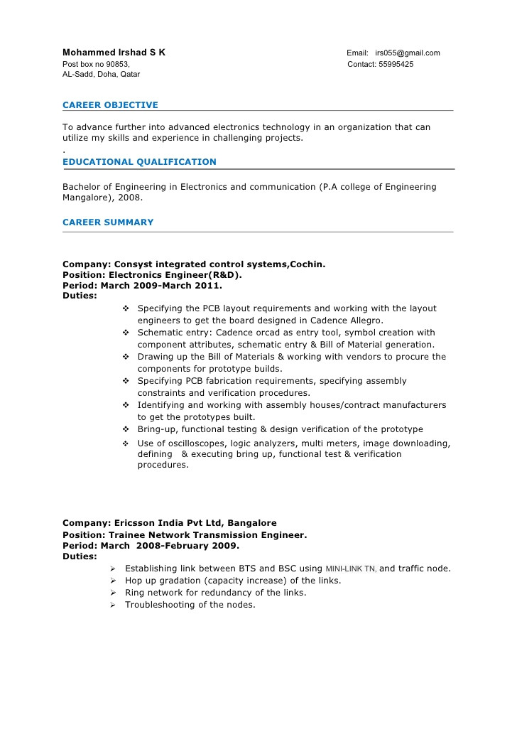 sample resume format for 2 years