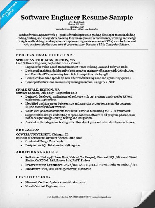 Software Engineer Resume Bullets software Engineer Resume Sample Writing Tips Resume