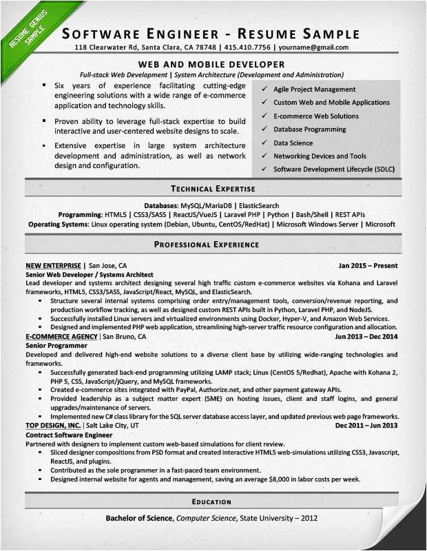 Software Engineer Resume Guidelines software Engineer Resume Example Writing Tips Resume