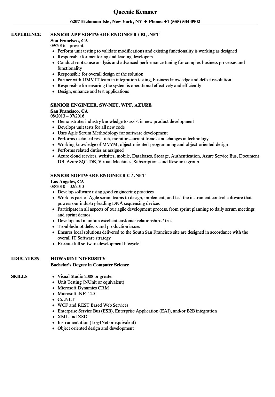 engineer net senior resume sample