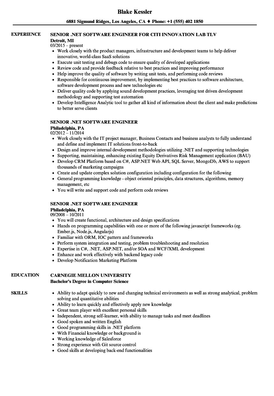 senior net software engineer resume sample