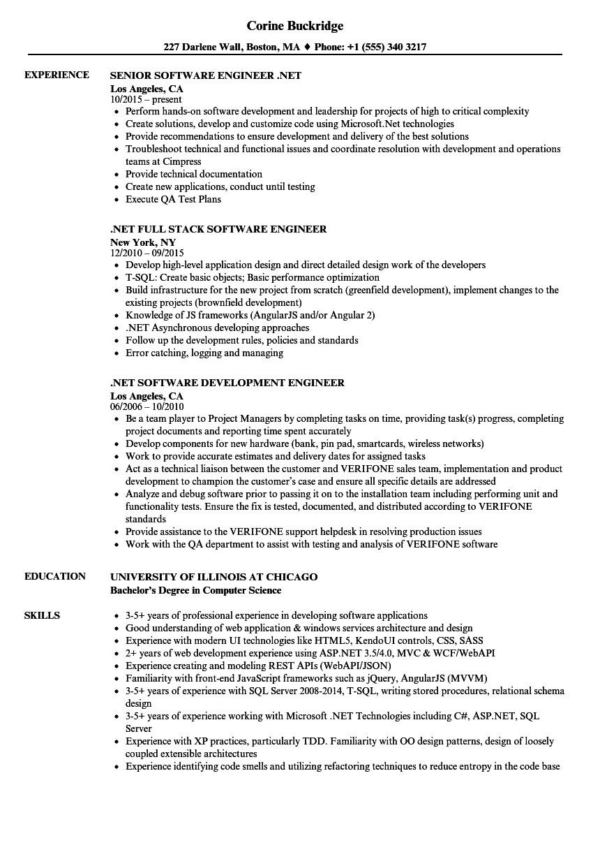 software engineer net resume sample
