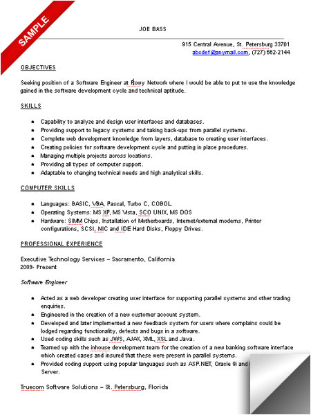 resume objective examples software engineer