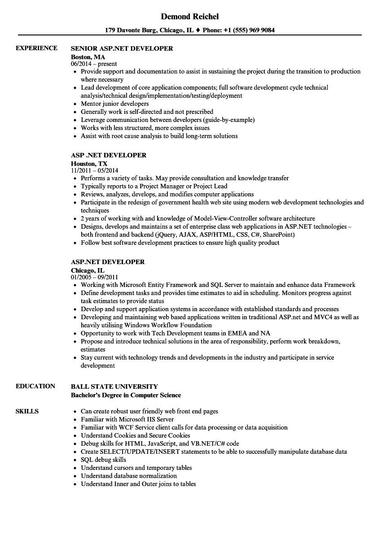 ms sql developer resume sample