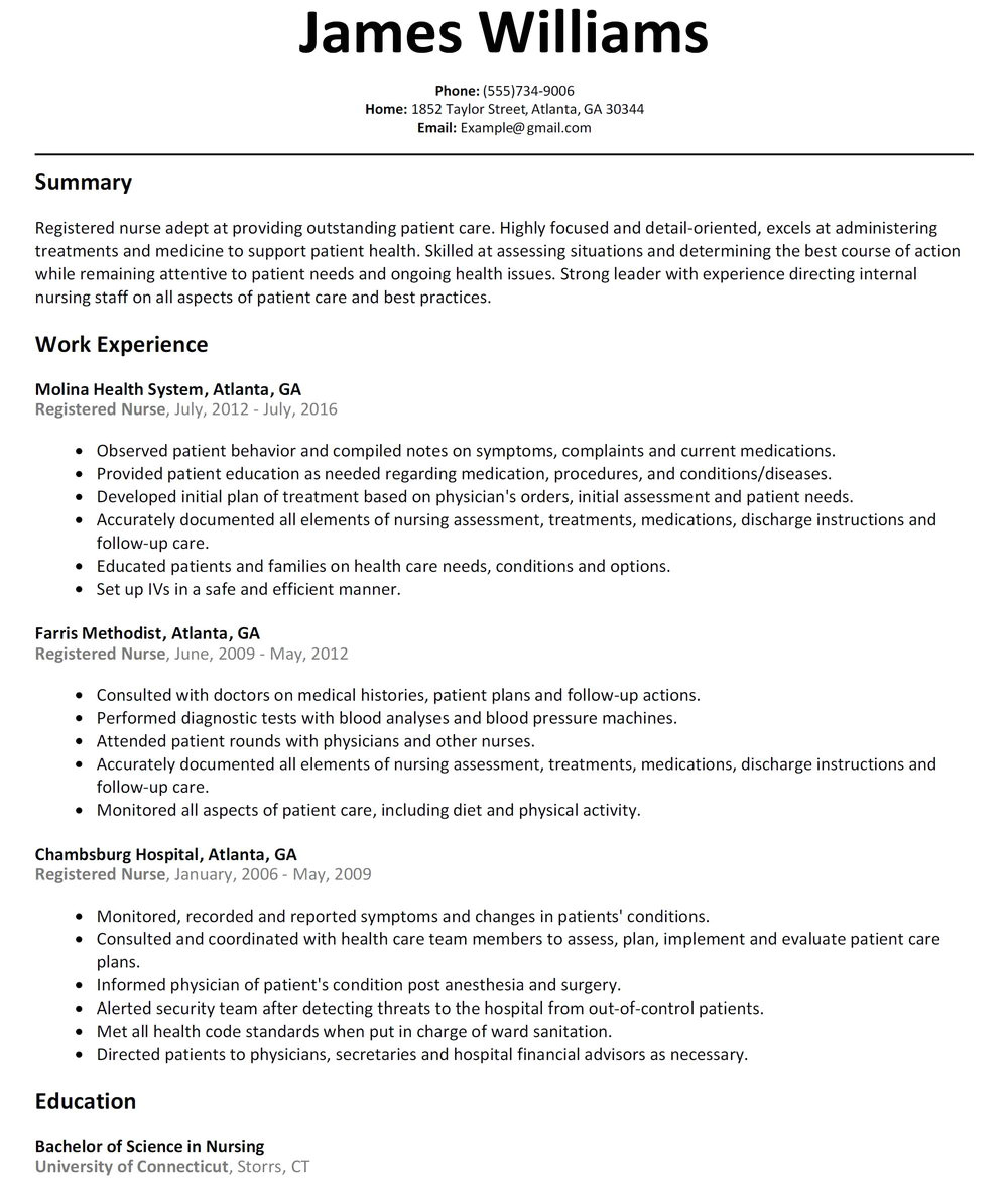 medical staff nurse resume sample