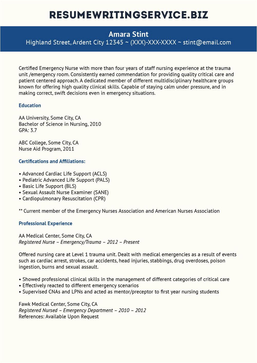 resume template for staff nurses