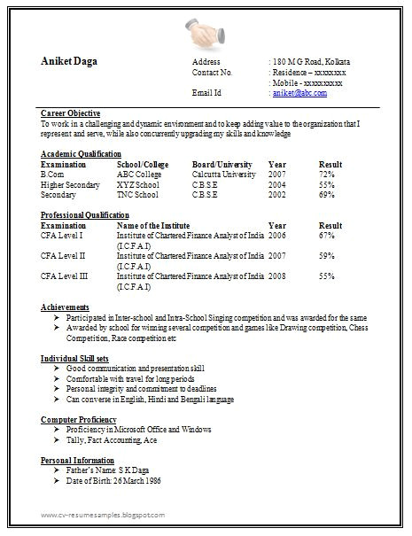 Standard Fresher Resume format Awesome One Page Resume Sample for Freshers Resume