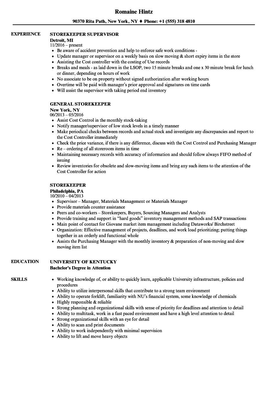 storekeeper resume sample