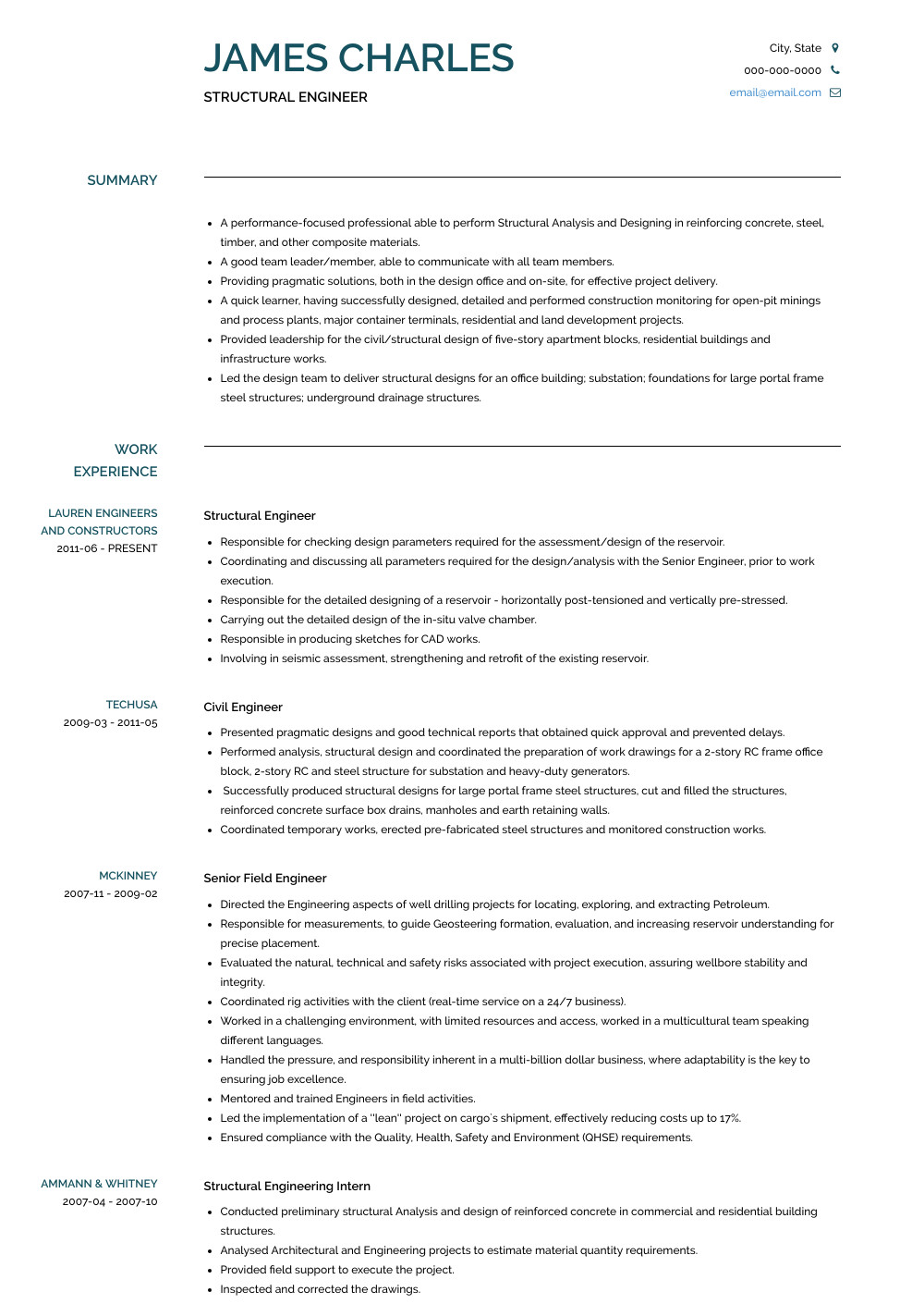 Structural Engineer Resume Structural Engineer Resume Samples and Templates Visualcv