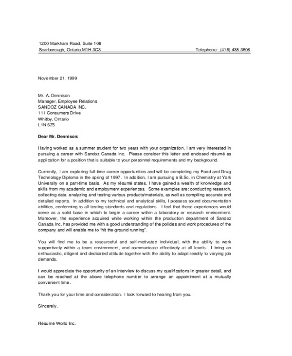 Student Cover Letter for Resume Sample Resume Cover Letter 8 Examples In Pdf Word