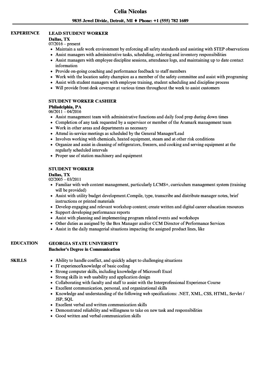 student worker resume sample