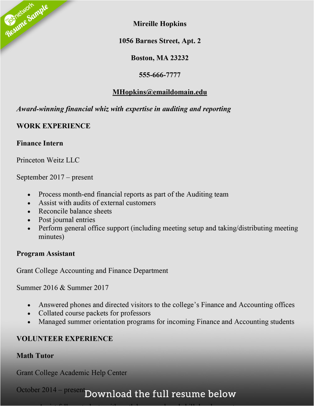 how to write a college student resume with examples