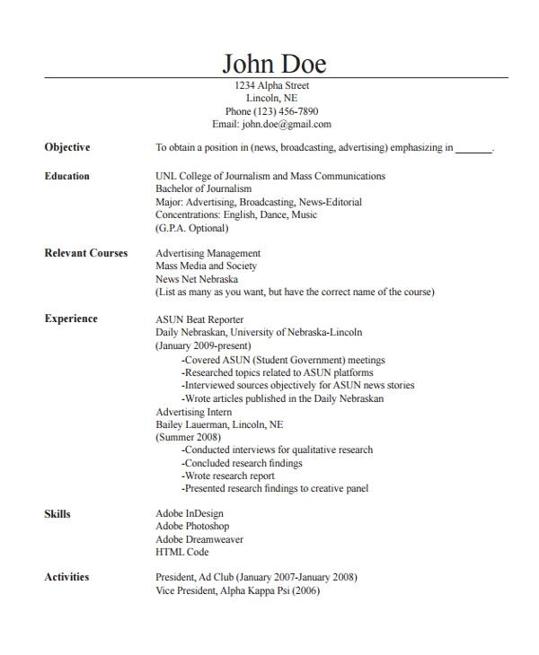 journalist resume